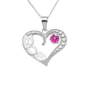 June Alexandrite (LC) 'MOM' Heart Pendant Necklace in White Gold
