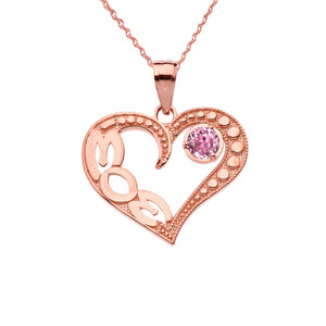 October Pink CZ 'MOM' Heart Pendant Necklace in Rose Gold