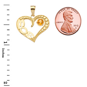 November Citrine (LC) 'MOM' Heart Pendant Necklace in Yellow Gold