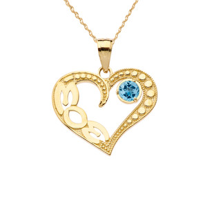 December Blue Topaz (LC) 'MOM' Heart Pendant Necklace in Yellow Gold