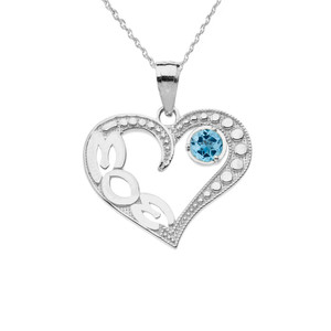 December Blue Topaz (LC)  'MOM' Heart Pendant Necklace in White Gold
