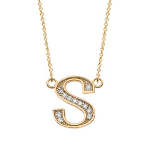 """14K Solid Yellow Gold Armenian Alphabet Diamond Initial """"T"""" or """"D"""" Necklace"""