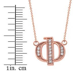 "14K Solid Rose Gold Armenian Alphabet Diamond Initial ""F"" Necklace"