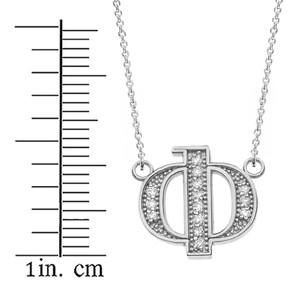 "14K Solid White Gold Armenian Alphabet Diamond Initial ""F"" Necklace"