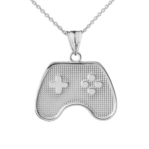 Game Control Pendant Necklace in Sterling Silver