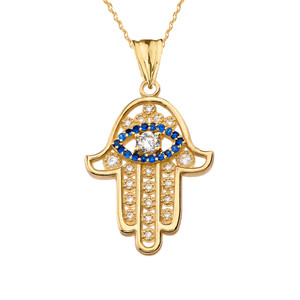 Chic Zirconia & September Birthstone Hamsa Evil Eye Pendant Necklace in Yellow Gold