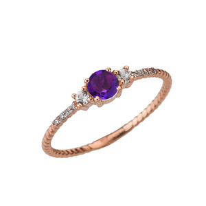 Dainty Elegant Amethyst and Diamond Rope Ring in Rose Gold