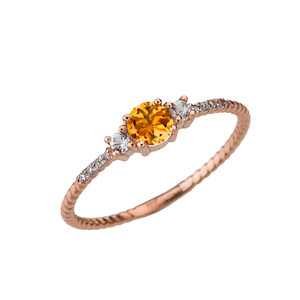 Dainty Elegant Citrine and Diamond Rope Ring in Rose Gold