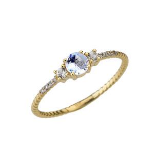 Dainty Elegant Aquamarine and Diamond Rope Ring in Yellow Gold