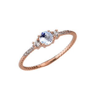 Dainty Elegant Aquamarine and Diamond Rope Ring in Rose Gold