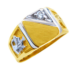 Men's Solid Gold Signet CZ Ring