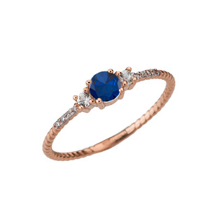 Dainty Elegant Sapphire and Diamond Rope Ring in Rose Gold