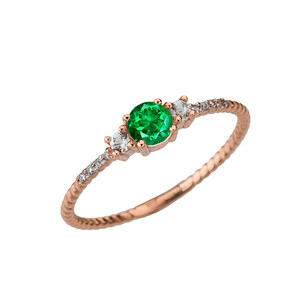 Dainty Elegant Emerald and Diamond Rope Ring in Rose Gold