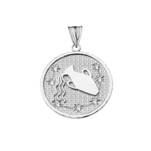 Designer Diamond Aquarius Constellation Pendant Necklace in White Gold