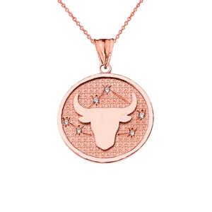 Designer Diamond Taurus Constellation Pendant Necklace in Rose Gold