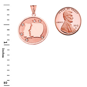 Designer Diamond Gemini Constellation Pendant Necklace in Rose Gold