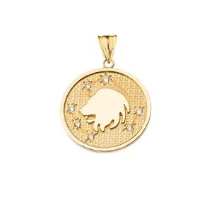 Designer Diamond Leo Constellation Pendant Necklace in Yellow  Gold