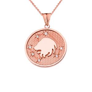 Designer Diamond Leo Constellation Pendant Necklace in Rose Gold