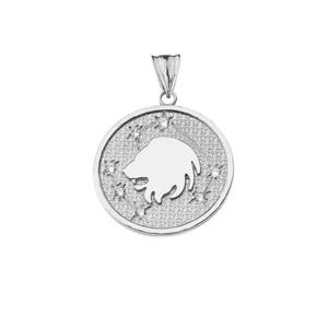 Designer Diamond Leo Constellation Pendant Necklace in White Gold