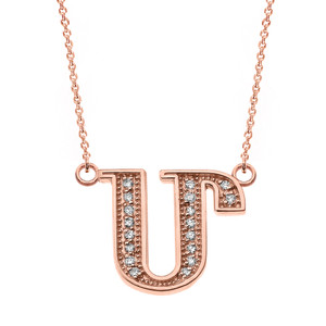 "14K Solid Rose Gold Armenian Alphabet Diamond Initial ""M"" Necklace"