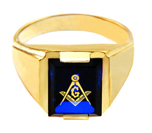 Freemason Blue Stone Square and Compass Gold Masonic Mens Ring