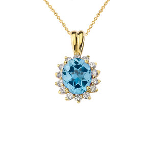Princess Diana Inspired Halo Personalized Semi Precious Birthstone Pendant Necklace in Yellow Gold