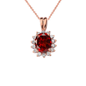 Princess Diana Inspired Halo Personalized Semi Precious Birthstone Pendant Necklace in Rose Gold