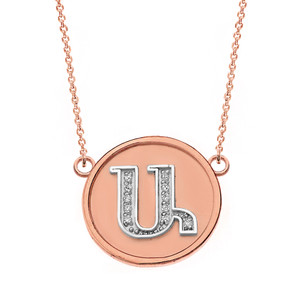 """14K Solid Two Tone Rose Gold Armenian Alphabet Diamond Disc Initial """"A"""" Necklace"""