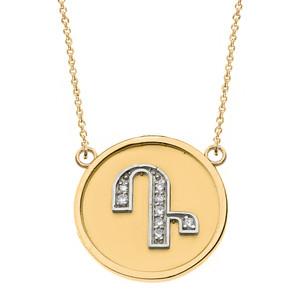 """14K Solid Two Tone Yellow  Gold Armenian Alphabet Diamond Disc Initial """"D"""" or """"T"""" Necklace"""