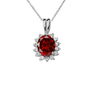 Diana Inspired Halo Personalized Semi Precious Birthstone & Diamond Pendant Necklace in White Gold