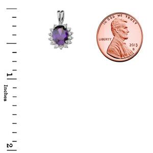 Diana Inspired Halo Personalized Semi Precious Birthstone & Diamond Pendant Necklace in White Gold