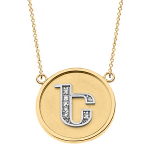 """14K Solid Two Tone Yellow Gold Armenian Alphabet Diamond Disc Initial """"E"""" Necklace"""