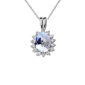 Princess Diana Inspired Halo Personalized (LC) Birthstone Pendant Necklace in White Gold