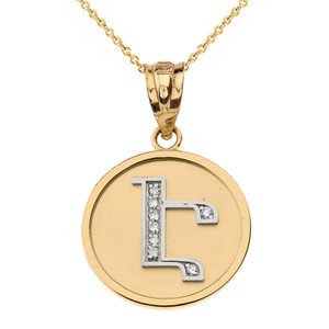 """Solid Two Tone  Yellow Gold Armenian Alphabet Diamond Disc Initial """"Eh"""" Pendant Necklace"""