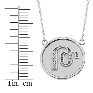 """14K Solid White Gold Armenian Alphabet Diamond Disc Initial """"To"""" Necklace"""