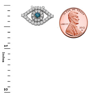 Cubic Zirconia Evil Eye Necklace in 14K White Gold