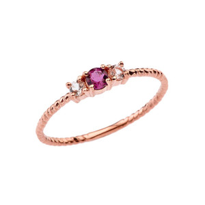 BoHo Elegant Ruby and White Topaz Stackable Rope Ring in Rose Gold