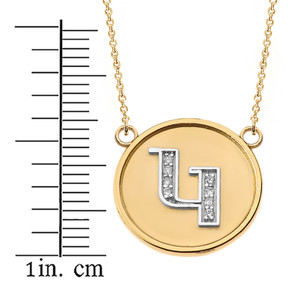 """14K Solid Two Tone Yellow Gold Armenian Alphabet Diamond Disc Initial """"G"""" Necklace"""