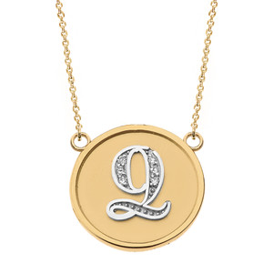 """14K Solid Two Tone Yellow Gold Armenian Alphabet Diamond Disc Initial """"Ts"""" or """"Dz"""" Necklace"""