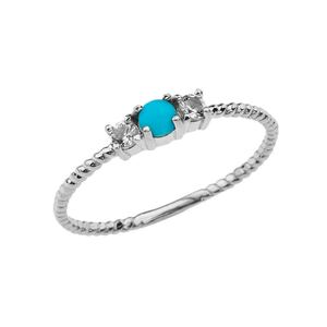 BoHo Elegant Turquoise and White Topaz Stackable Rope Ring in White Gold
