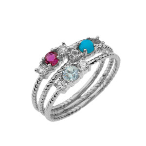 BoHo Elegant Gemstone Stackable Rope Ring in White Gold