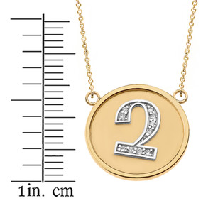 "14K Solid Two Tone Yellow Gold Armenian Alphabet Diamond Disc Initial ""Chu"" Necklace"