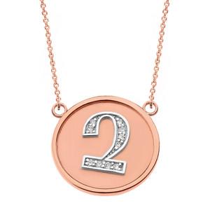"14K Solid Two Tone Rose Gold Armenian Alphabet Diamond Disc Initial ""Chu"" Necklace"