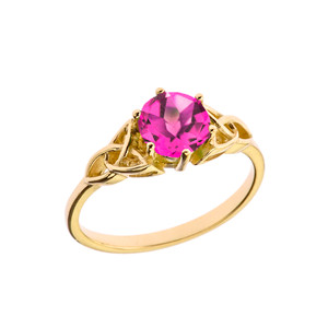 Trinity Knot Personalized Birthstone Engagement/Proposal Ring in Yellow Gold