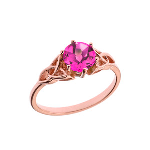 Trinity Knot Personalized Birthstone Engagement/Proposal Ring in Rose Gold