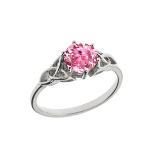 Trinity Knot Personalized Birthstone Engagement/Proposal Ring in Sterling Silver