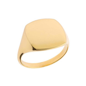 Comfort Fit Square Signet Ring in Yellow Gold