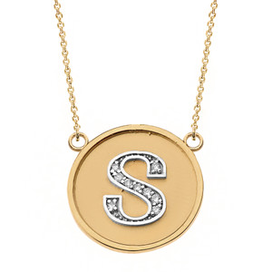 """14K Solid Two Tone Yellow Gold Armenian Alphabet Diamond Disc Initial """"T"""" or """"D""""  Necklace"""