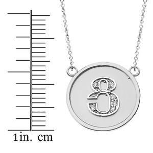 "14K Solid White Gold Armenian Alphabet Diamond Disc Initial ""Tsu""  Necklace"
