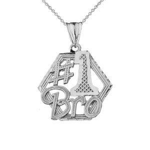 #1 Best Brother Pendant Necklace in White Gold